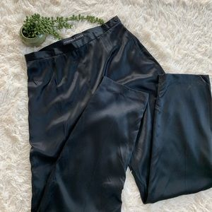 100% Silk Black High Waisted Pants